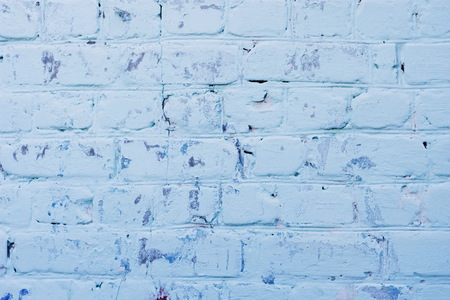 Texture of old blue brick wall surface with cement seams Stock Photo