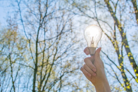 Sunlight energy concept, lamp charged by the sun