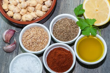 needed: Ingredients needed to prepared hummus Stock Photo