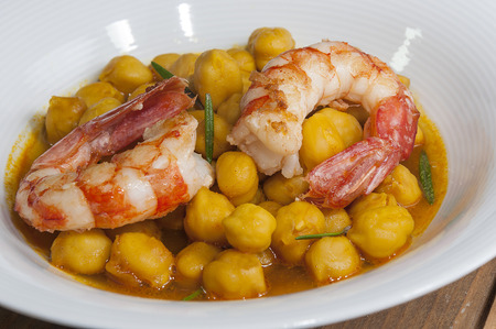prawn: Chickpea dish with shrimp and curry Stock Photo