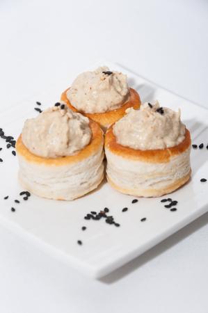 black sesame: Vol-au-vent tahini with black sesame