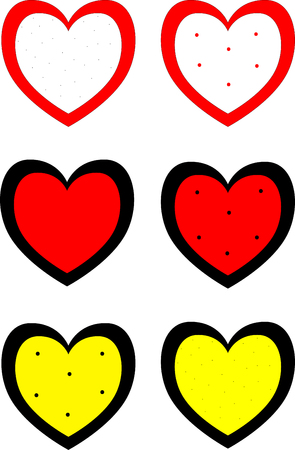 Set of Hearts . Grunge stamps collection.love Shapes for your design Illustration