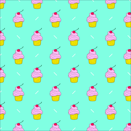 seamless pattern of cute cupcakes