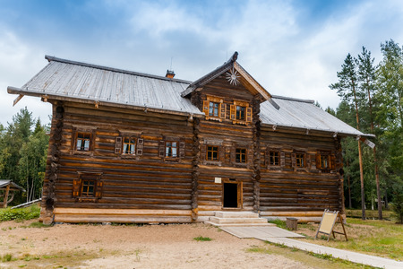 two floors: Old north Russian house with two floors