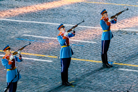 MOSCOW, RUSSIA - AUGUST 26, 2016: Spasskaya Tower international military music festival. The Honor Guard of the Presidential Regiment at the Red Square