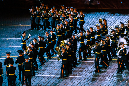 MOSCOW, RUSSIA - AUGUST 26, 2016: Spasskaya Tower international military music festival. The Band of the Moscow Military Music College from Russia at the Red Square Editorial