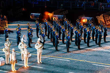 spasskaya: MOSCOW, RUSSIA - AUGUST 26, 2016: Spasskaya Tower international military music festival. The Honor Guard of the Presidential Regiment and the Presidents band at the Red Square Editorial