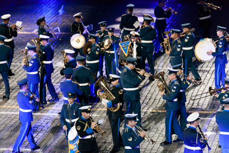 hellenic: MOSCOW, RUSSIA - AUGUST 26, 2016: Spasskaya Tower international military music festival. The Greek Hellenic Military Massed Band at the Red Square