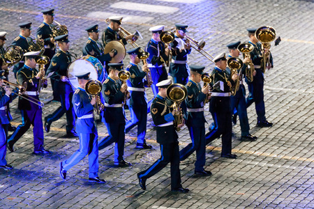 hellenic: MOSCOW, RUSSIA - AUGUST 26, 2016: Spasskaya Tower internationa military music festival. The Greek Hellenic Military Massed Band at the Red Square