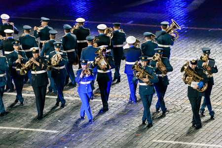 spasskaya: MOSCOW, RUSSIA - AUGUST 26, 2016: Spasskaya Tower international military music festival. The Greek Hellenic Military Massed Band at the Red Square