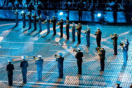 spasskaya: MOSCOW, RUSSIA - AUGUST 26, 2016: Spasskaya Tower international military music festival. The  Central Russian Band of the Navy named after NA Rimsky-Korsakov at the Red Square