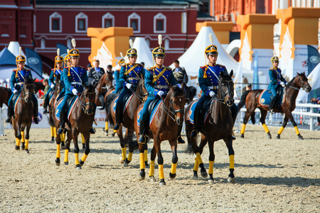 cavalry: MOSCOW, RUSSIA - SEPTEMBER 02, 2016: Spasskaya Tower international military music festival. The Cavalry Escort of the Presidential Regiment of Russia