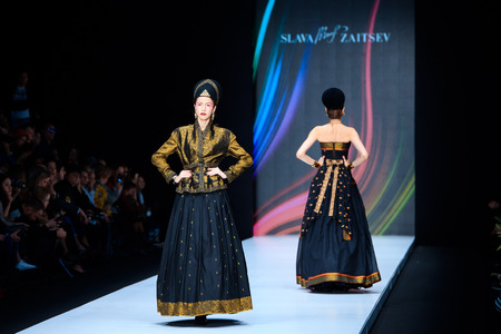 runway fashion: MOSCOW, RUSSIA - OCTOBER 13, 2016: Model walk runway for Slava Zaitsev catwalk at Spring-summer 2017 Mercedes- Benz Fashion Week Russia. Editorial