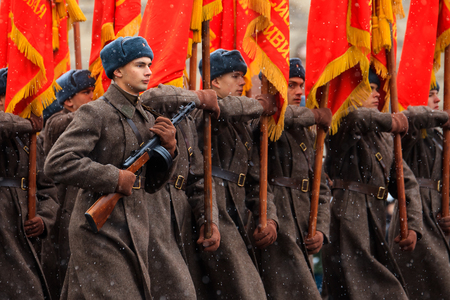 MOSCOW, RUSSIA - NOVEMBER 05, 2016: Full-dress rehearsal of the parade, dedicated to November 7, 1941 on Red Square in Moscow.