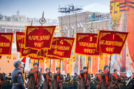reenactment: MOSCOW, RUSSIA - NOVEMBER 07, 2016: Parade dedicated to November 7, 1941 on Red Square in Moscow. 75th anniversary. Editorial