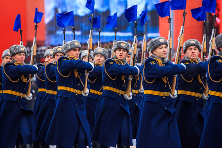 MOSCOW, RUSSIA - NOVEMBER 07, 2016: Parade dedicated to November 7, 1941 on Red Square in Moscow. 75th anniversary. Editorial