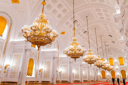 sumptuous: MOSCOW, RUSSIA - OCTOBER 27, 2016: The interior view of the Georgievsky hall in the Grand Kremlin Palace in Moscow. Built in 1849, the palace is the official residence of the President of Russia.