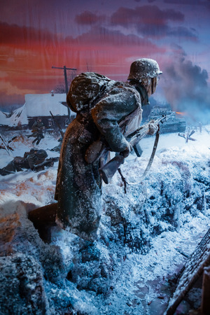 german soldier: MOSCOW, RUSSIA - DECEMBER 20, 2016: A unique 3D panorama called Moscow. 1941. Counteroffensive at the Russia, My History historical park at the National Exhibition of Economic Achievements (VDNKh).