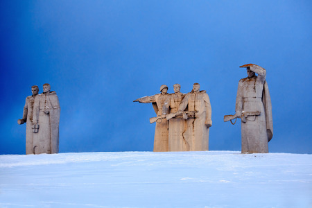 28 panfilov heroes memorial near village Nelidovo, Volokolamsk district, Moscow region. Built in 1975 named after Panfilovs division act of bravery in WWII. Winter view. Stock Photo