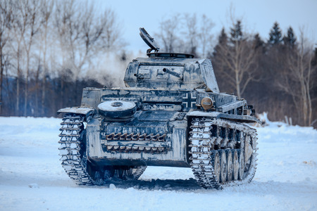 Winter view of the german WWII tank (panzer) Pz. II. Reconstruction of the winter defensive battles of the Red Army in WWII (1944 year). Editorial