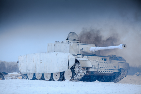 Winter view of the german WWII tank (panzer) Pz. IV. Reconstruction of the winter defensive battles of the Red Army in WWII (1944 year). Editorial