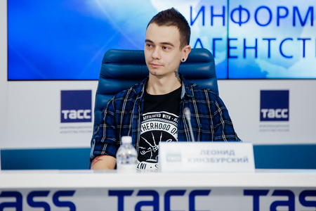 MOSCOW, RUSSIA - FEBRUARY 28, 2017: LOUNA band press-conference at TASS Russian news agency on February 28, 2017 in Moscow, Russia. Leonid Kinzbursky drummer. Editorial