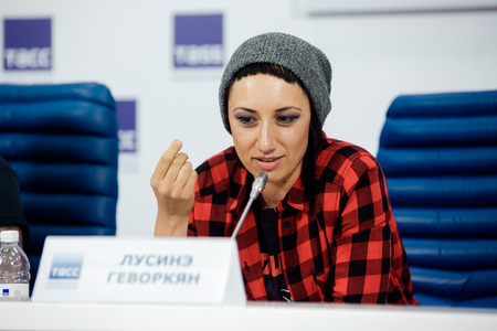 MOSCOW, RUSSIA - FEBRUARY 28, 2017: LOUNA band press-conference at TASS Russian news agency on February 28, 2017 in Moscow, Russia. Singer Lusine Gevorkyan.