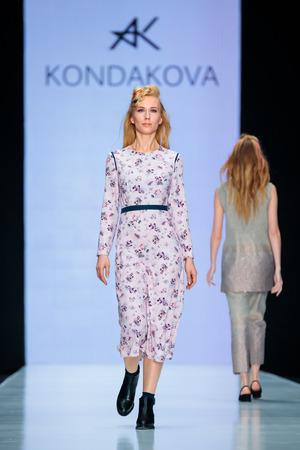MOSCOW, RUSSIA - MARCH 14, 2017: Model walk runway for KONDAKOVA catwalk at Fall-Winter 2017-2018 at Mercedes-Benz Fashion Week Russia. Editorial