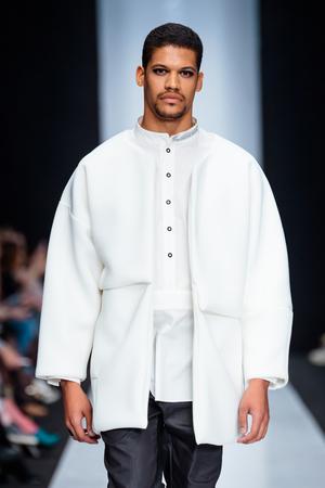 nikolay: MOSCOW, RUSSIA - MARCH 15, 2017: Model walk runway for DESIGNER NIKOLAY LEGENDA catwalk at Fall-Winter 2017-2018 at Mercedes-Benz Fashion Week Russia. Mens fashion.