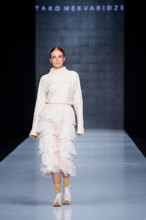 MOSCOW, RUSSIA - MARCH 16, 2017: Model walk runway for TAKO MEKVABIDZE catwalk at Fall-Winter 2017-2018 at Mercedes-Benz Fashion Week Russia. Editorial