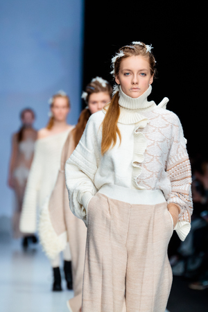 famous industries: MOSCOW, RUSSIA - MARCH 16, 2017: Model walk runway for KSENIASERAYA catwalk at Fall-Winter 2017-2018 at Mercedes-Benz Fashion Week Russia. Editorial