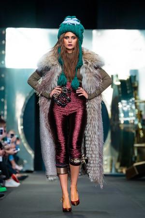 igor: MOSCOW, RUSSIA - MARCH 16, 2017: Model walk runway for IGOR GULYAEV catwalk at Fall-Winter 2017-2018 at Mercedes-Benz Fashion Week Russia.