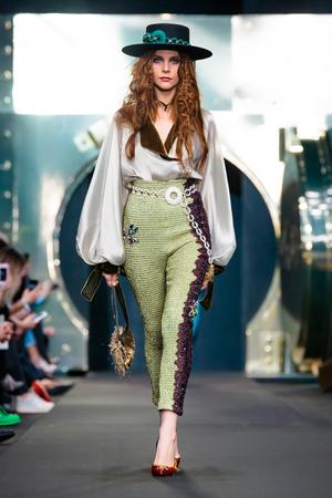 MOSCOW, RUSSIA - MARCH 16, 2017: Model walk runway for IGOR GULYAEV catwalk at Fall-Winter 2017-2018 at Mercedes-Benz Fashion Week Russia.