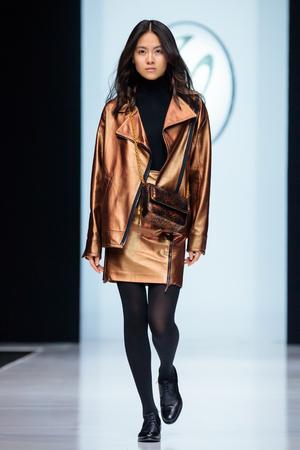 MOSCOW, RUSSIA - MARCH 21, 2017: Model walk runway for VALENTIN YUDASHKIN catwalk at Autumn-Winter 2017-2018 Moscow Fashion Week.