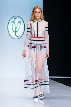 MOSCOW, RUSSIA - OCTOBER 24, 2017: Model walk runway for VALENTIN YUDASHKIN catwalk at Spring-Summer 2017-2018 Season Moscow Fashion Week.