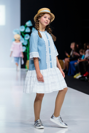 MOSCOW, RUSSIA - OCTOBER 28, 2017: Model walk runway for LANA2ROCK by ASUTINA JULIA for KIDS catwalk at Spring-Summer 2017-2018 Season Moscow Fashion Week. Kids fashion.