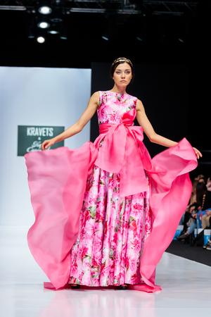 MOSCOW, RUSSIA - OCTOBER 28, 2017: Model walk runway for KRAVETS and KARINA SARSENOVA catwalk at Spring-Summer 2017-2018 Season Moscow Fashion Week.