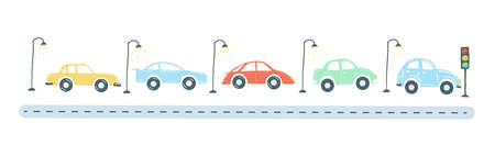 traffic jam from colored cars flat simple cartoon style hand drawing. vector illustration