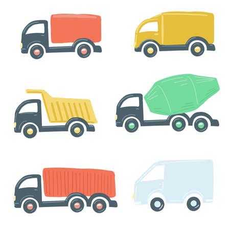 set of trucks flat simple cartoon style hand drawing. vector illustration