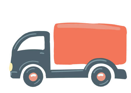 a truck with a red body. isolated car. hand drawn cartoon style, vector illustration. cargo transportation van.