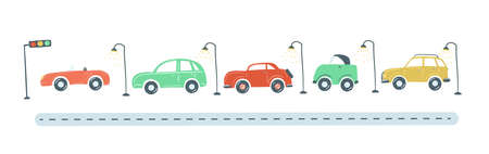 traffic jam from colored cars flat simple cartoon style hand drawing. vector illustration Vektorgrafik