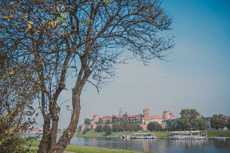 View of The Wawel royal Castle in Krakow, Poland from across the river Vistula, Wisla. Built at the behest of King Casimir III the Great. Beautiful tree without leaves is on the foreground.