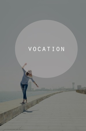 vocation: Beautiful young hipster woman walking near sea with raised hands. Oval insert with vocation sign Stock Photo