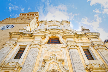 patron of europe: Facade of the Cathedral of Saints Peter and Paul, the beautiful village Pitigliano, Grosseto, Tuscany Stock Photo