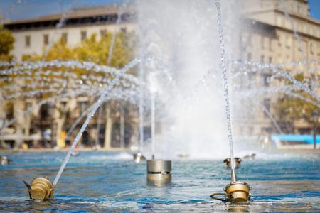 steam jet: Nozzles of fountain Plaza Catalunya, Barcelona