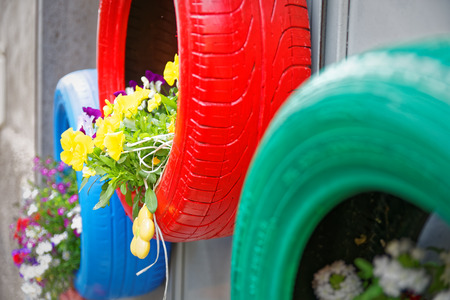 recycle: Brilliant idea for tires used as planters environmentally