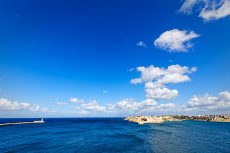 wideangle: Super wide-angle of the port of Valletta, Grand Harbour Stock Photo