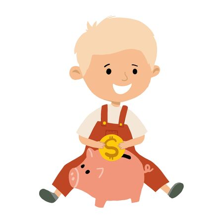 Cute little boy is going to put a coin in a piggy Bank. Child saves money concept. Hand drawn flat vector illustration.