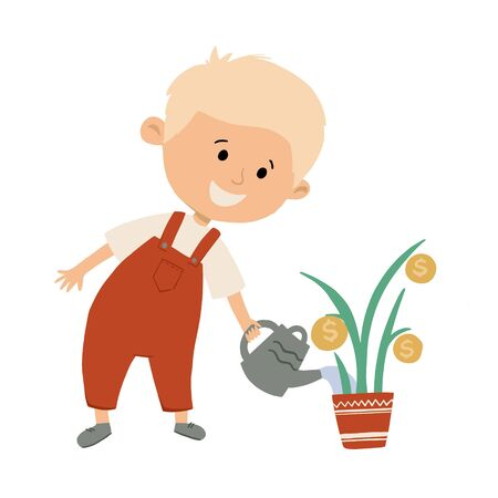 Cute little boy is watering money tree. Child saves money concept. Hand drawn flat vector illustration.