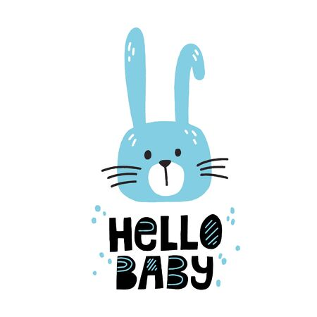 Cute blue bunny and hello baby slogan. Hand drawn vector illustration and lettering for newborn poster design